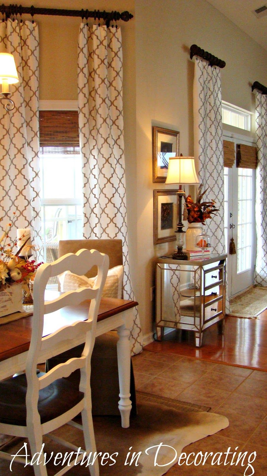 Adventures In Decorating Deja Vu Cowhide Farmhouse Table Love The Curtains
