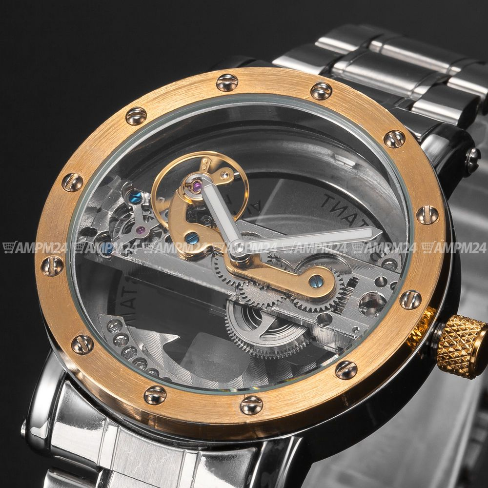 classic watches skeleton mens product men stainless description itm transparent steel steampunk mechanical watch new