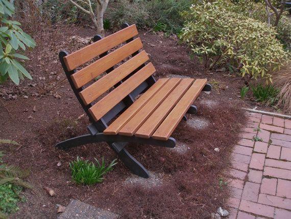 Cedar Love Seat - Two-Color - Storable - for Garden, Deck, Porch ...