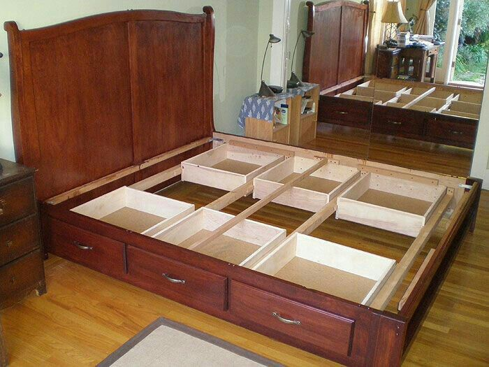 Pin By Elahe Toozandehjani On Bedroom Bed Frame With Drawers Bed With Drawers Under Bed Storage