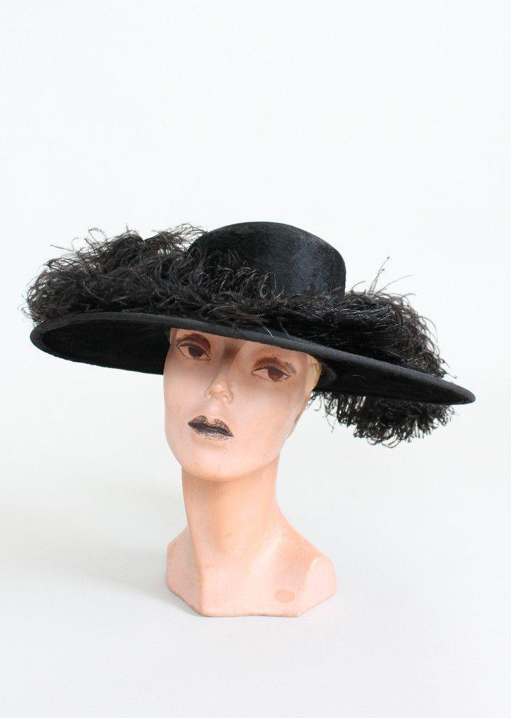 Antique 1900/'s Straw and Plum Original Victorian Hat.