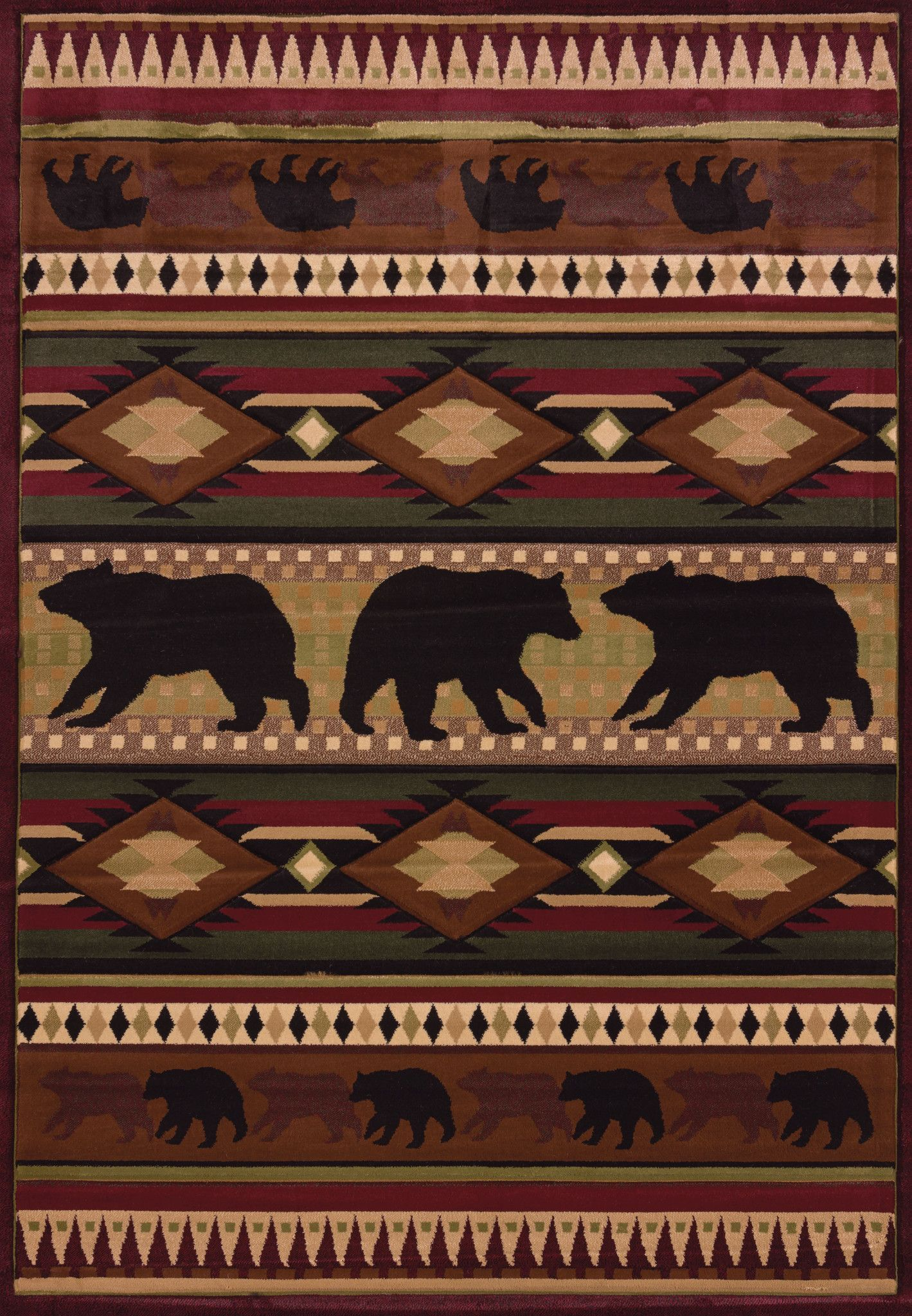 United Weaver Contours John Q Native Bear Area Rug