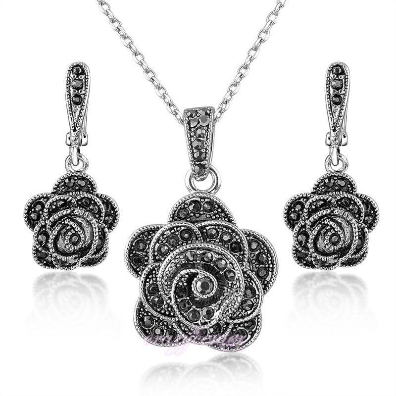 b2b208938b4e8 Details about Women Lady Vintage Flower Pendant Necklace Earrings ...