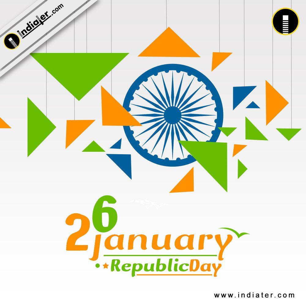 Happy republic day celebration with triangle shape color of indian happy republic day celebration with triangle shape color of indian flag greeting card m4hsunfo