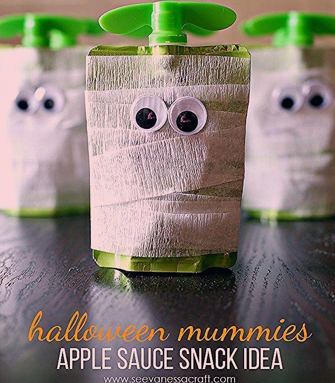 Photo of Halloween: Mummy Apple Sauce Snack Idea – See Vanessa Craft