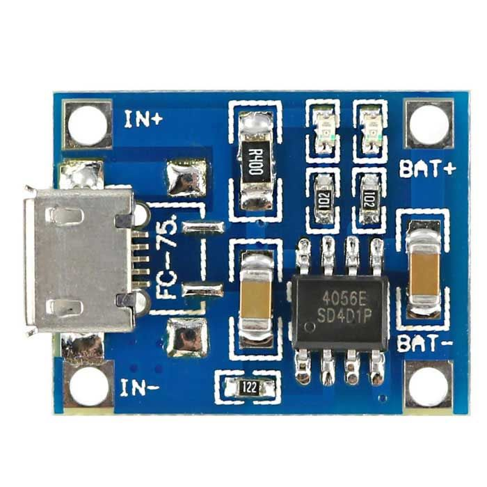 TP4056 DIY 1A Micro USB Li-Ion Battery Charging Board Charger Module - Blue. This is a 3.7V lithium battery cha