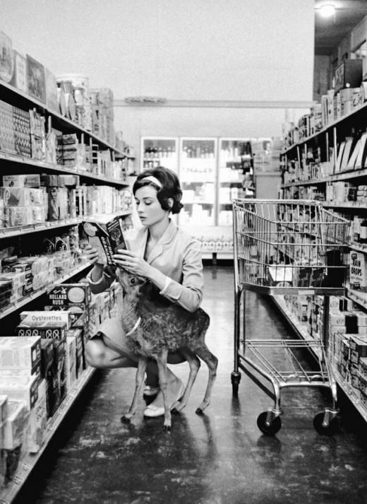 Audrey Hepburn and her deer, shopping