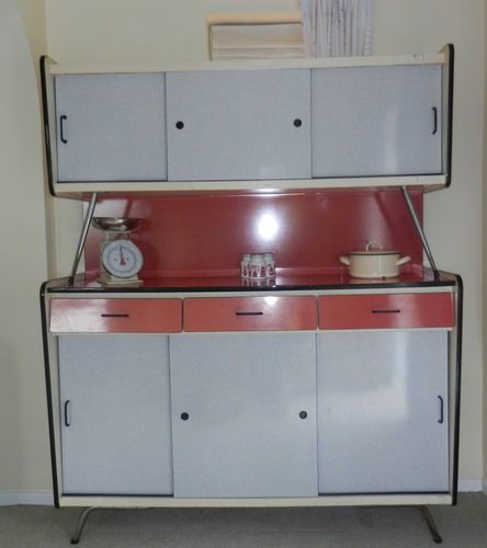 Fabulously Vintage Formica 50 S 60 S Kitchen Cupboard Cabinet Red White Kitchen Cupboards Vintage Kitchen Accessories 60s Kitchen