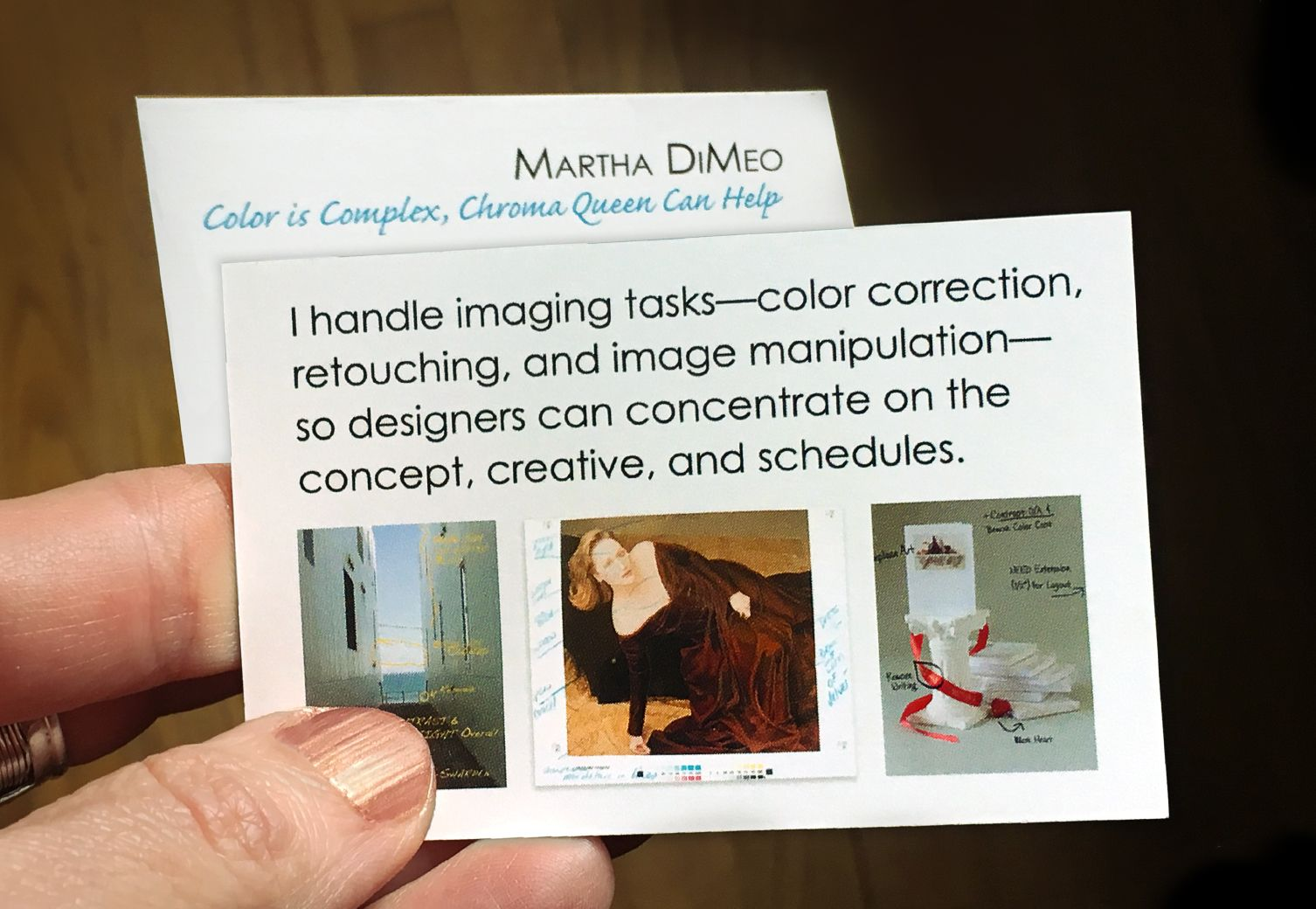 My new business card. What I do—color correction, retouching, and ...