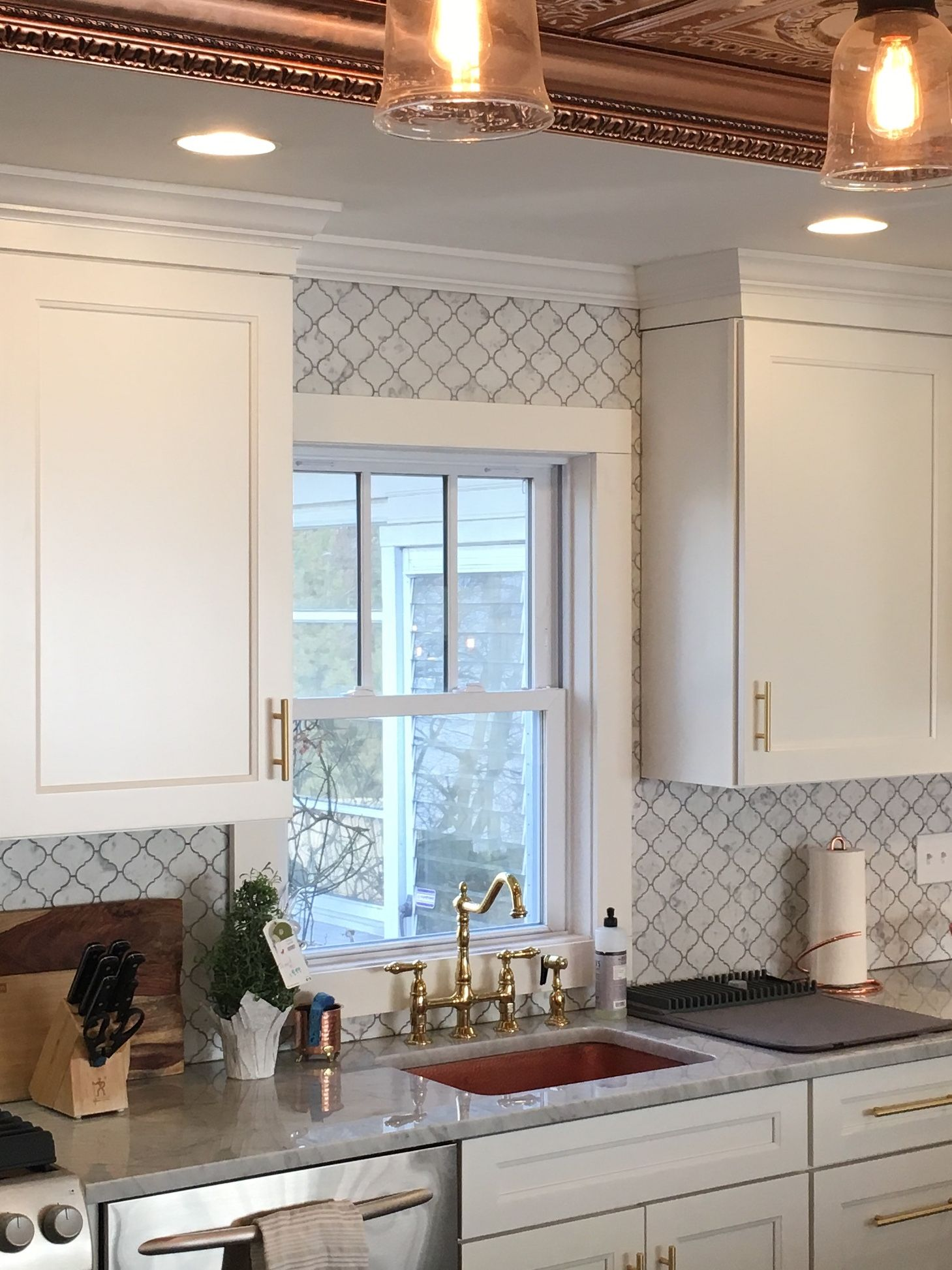 Honed Carrara Marble Arabesque Backsplash Polished Carrara Marble