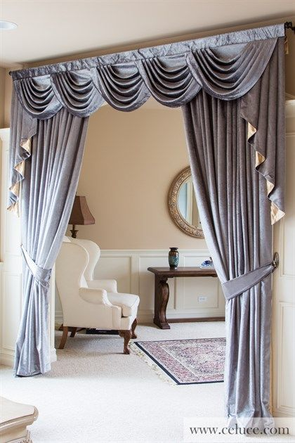 Picture Of Silver Pearl Dahlia Half Overlapping Style Curtains