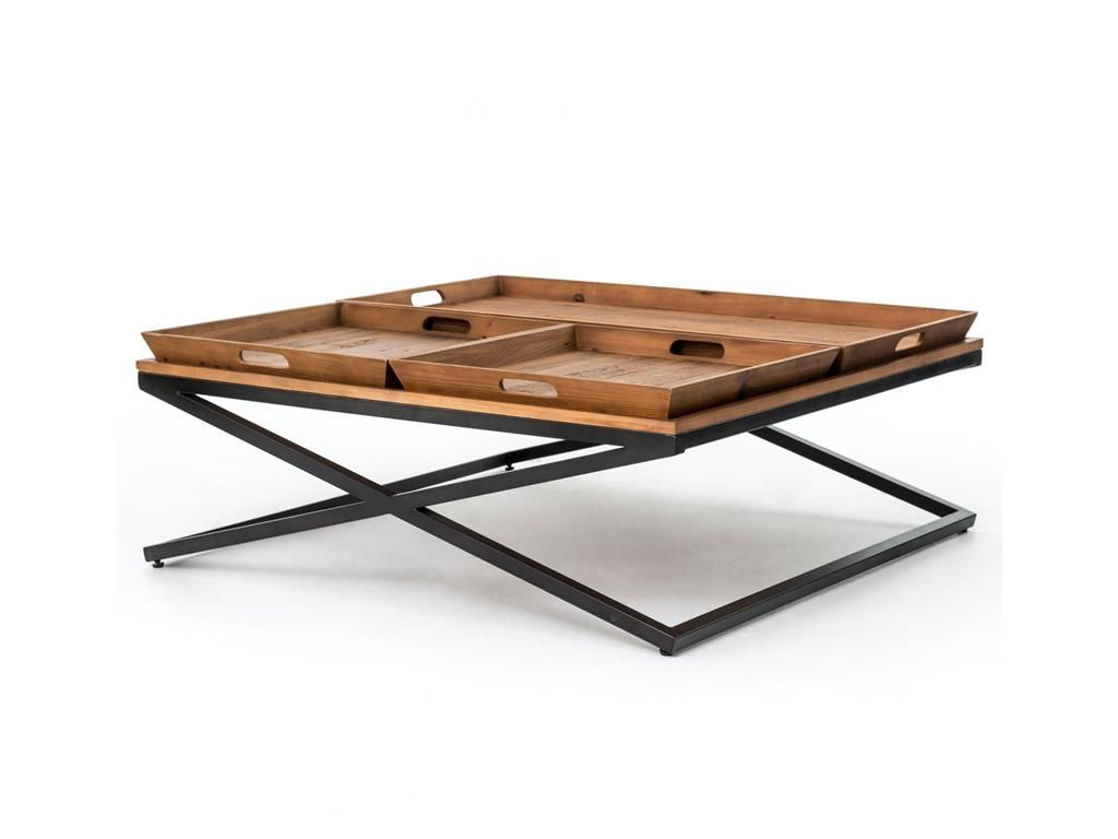48x48 Rustic Wood And Iron Coffee Table With Three Removable Trays