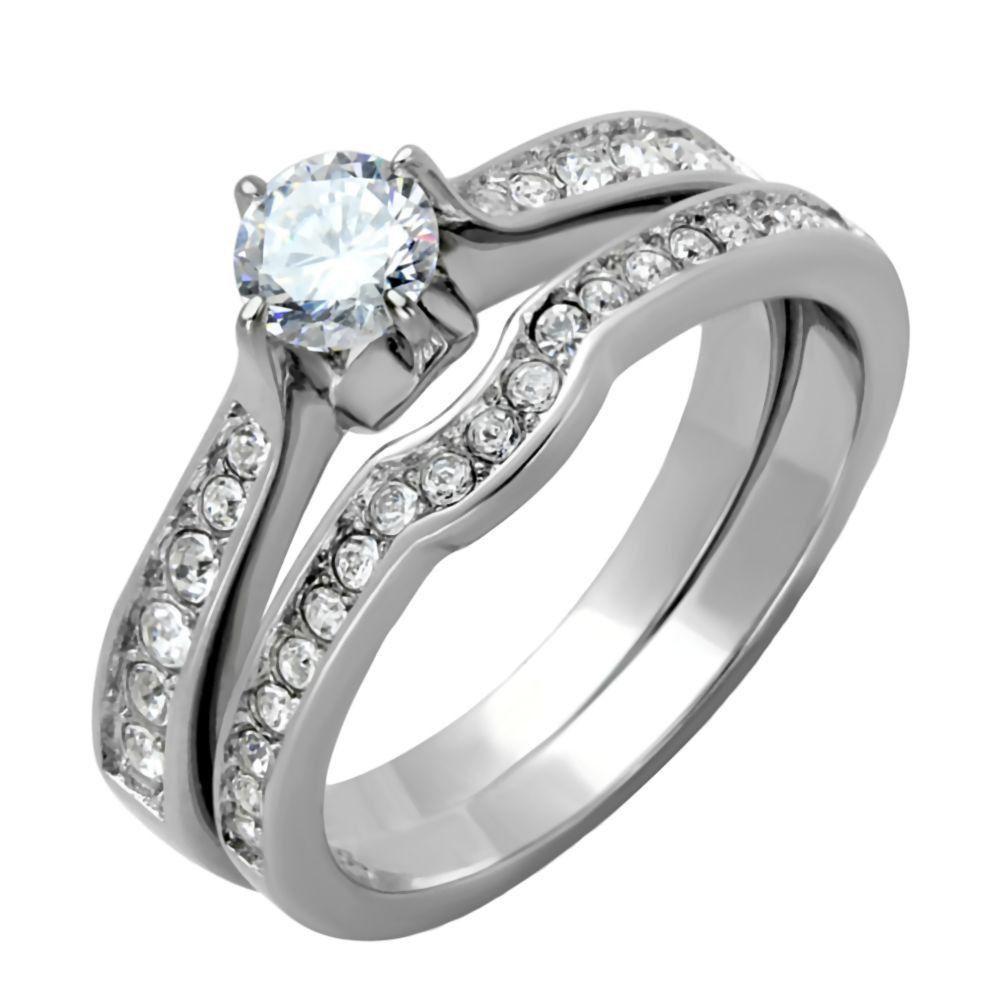 Roz 105ct 2 Pc Russian Ice On Fire Semi Eternity Wedding Ring Set