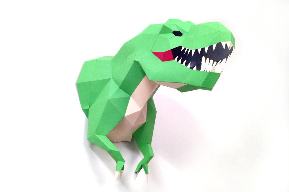 Diy Papercraft Tyrannosaurus Wall Trophy T Rex Trophy Wall Decor