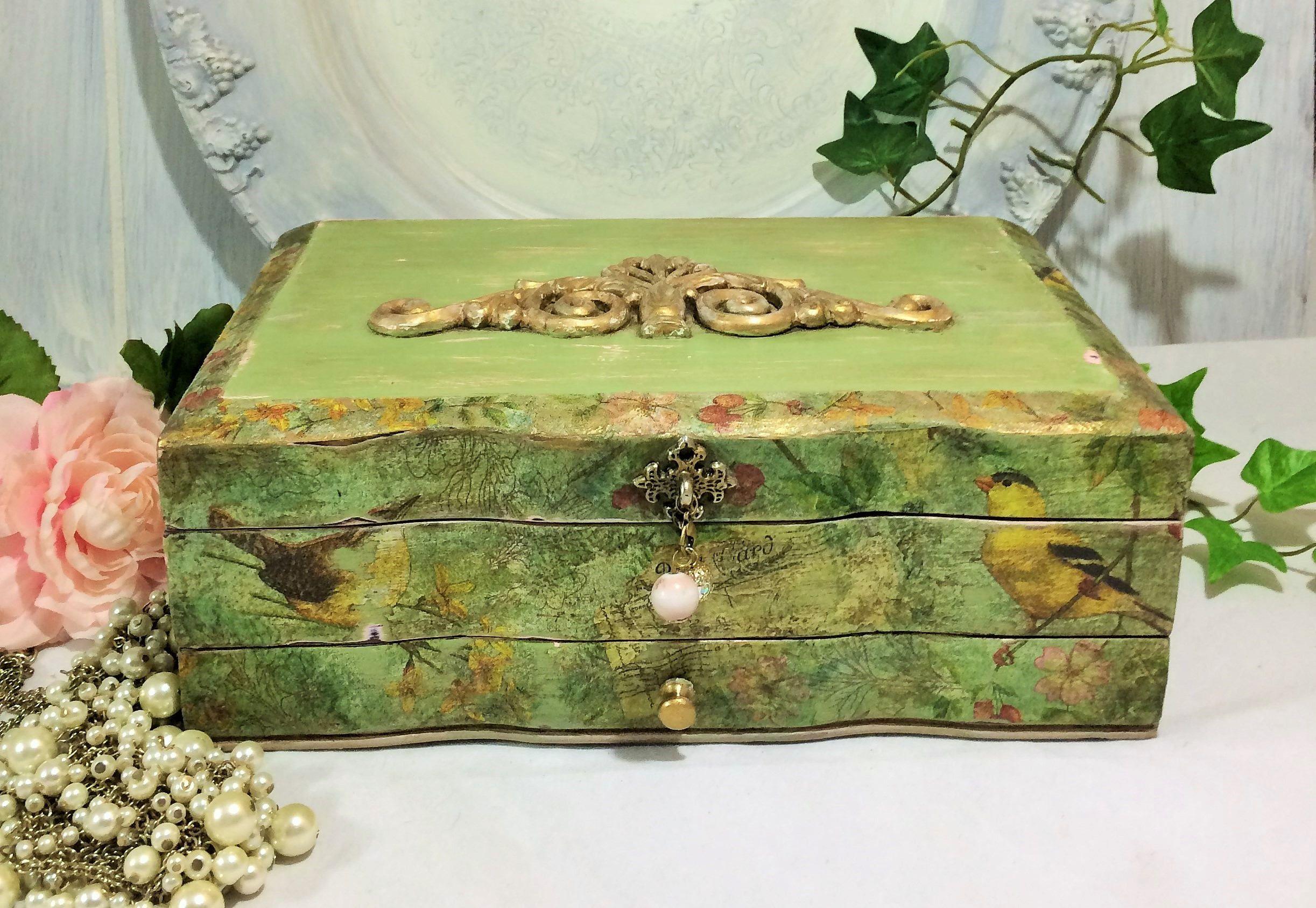 Large Jewelry Box Old World Green Gold Florentine Jewelry Box
