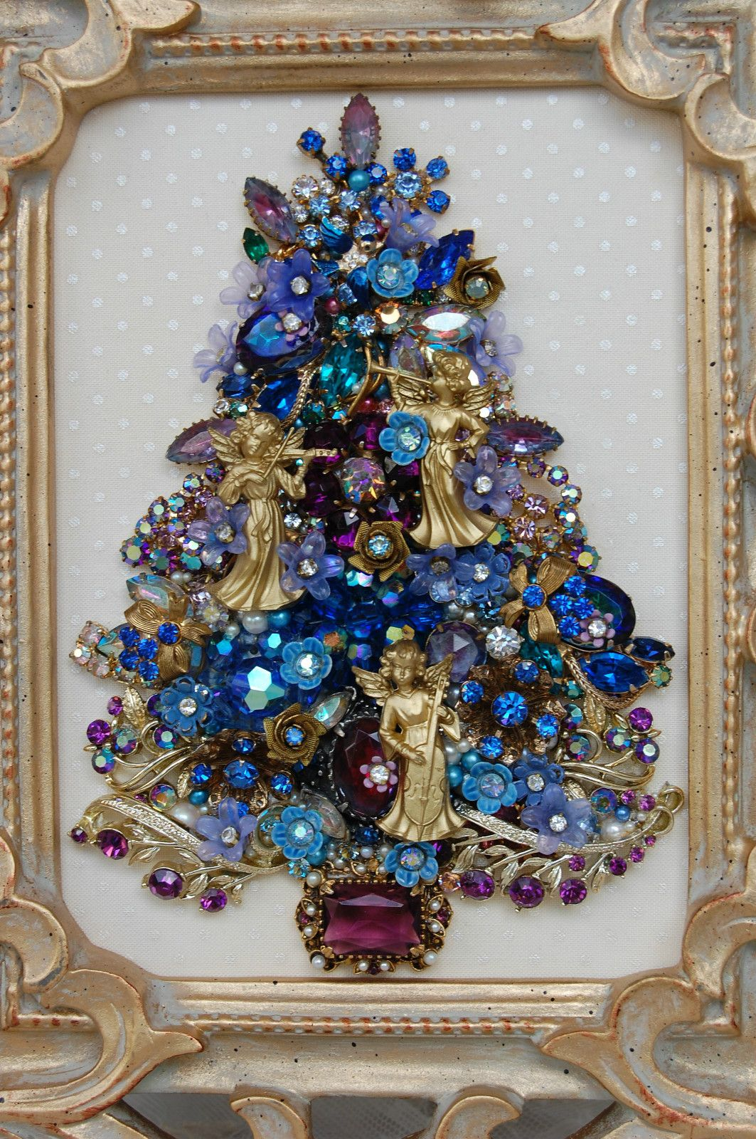 Vintage Jewelry Framed Christmas Tree Blue Lavender Florals