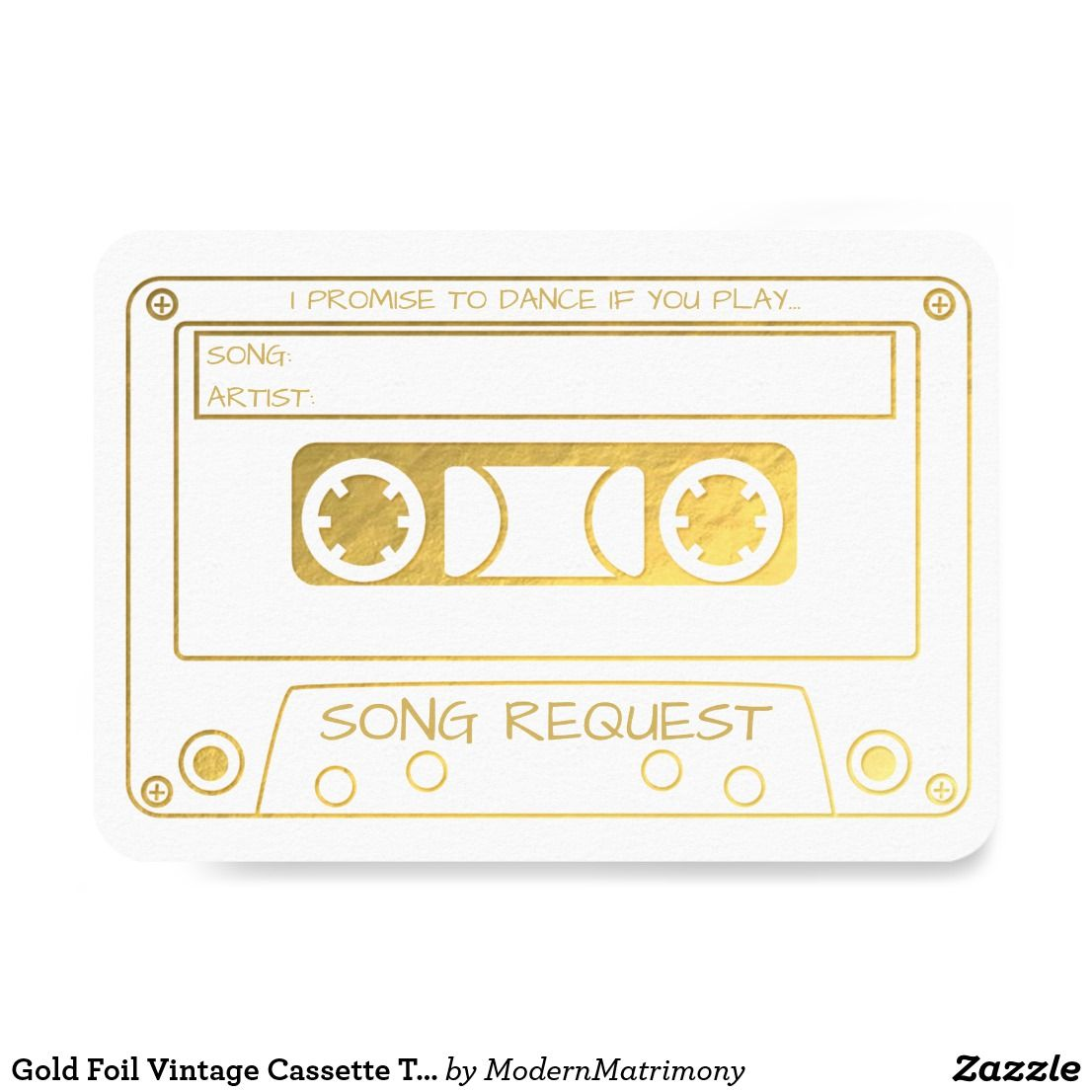 Gold Foil Vintage Cassette Tape Song Request Invitation Zazzle Com Song Request Gold Foil Wedding Invitations Foil Invitations