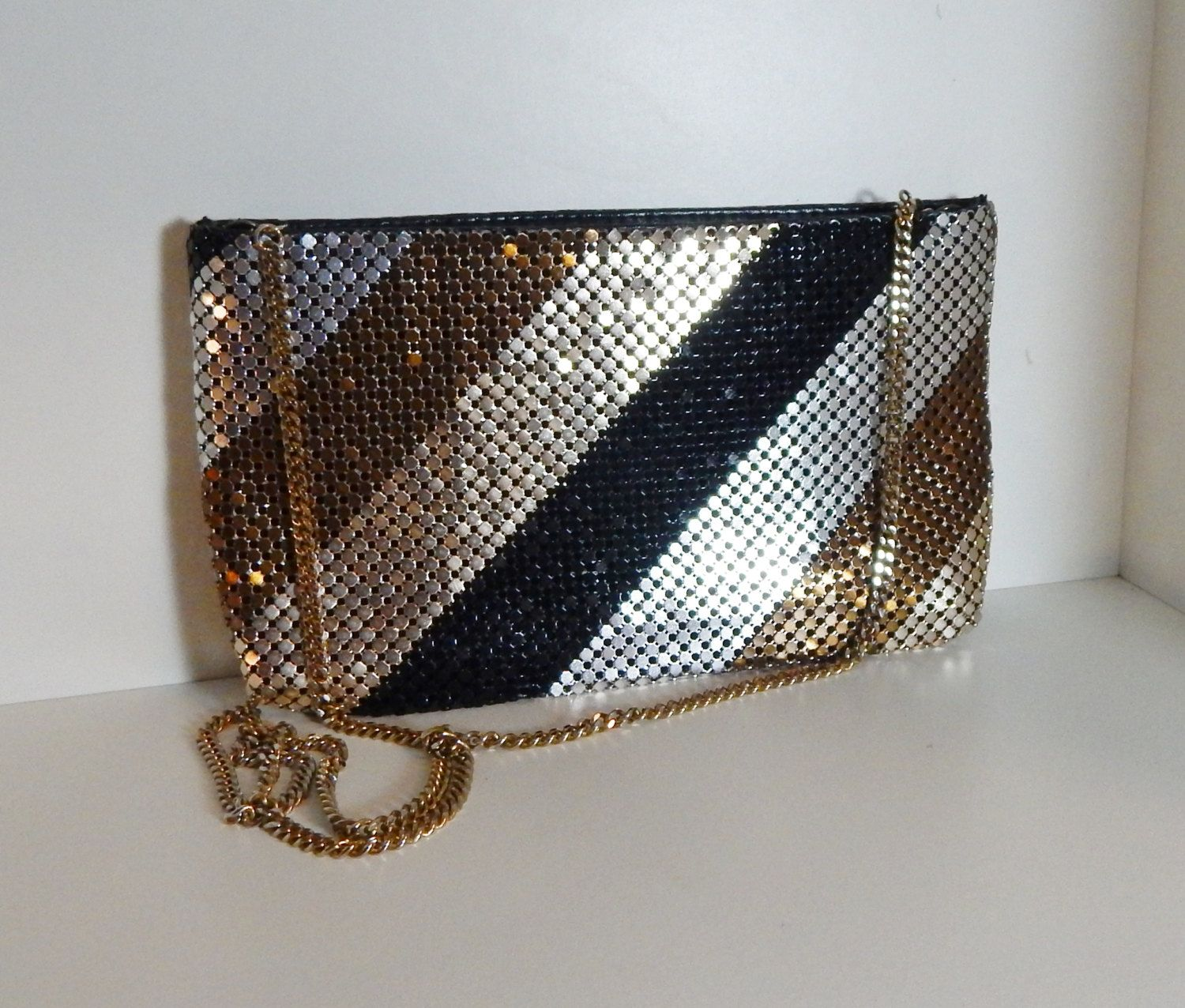Vintage Clutch Metallic Metal Mesh Link Purse Disco Evening Shoulder Bag  Black Gold Silver with Long Gold Chain Link Strap by OffbeatAvenue on Etsy f95849fbc89f