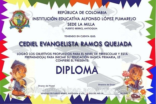 Diplomas preescolar para imprimir - Imagui | Diplomas | Pinterest