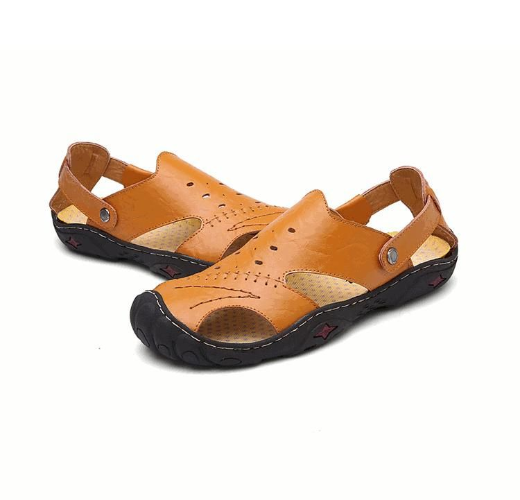 3390b9962963 Men Summer Hollow Out Business Leather Cowhide Leather Soft Flat Breathable  Casual Sandals Shoes