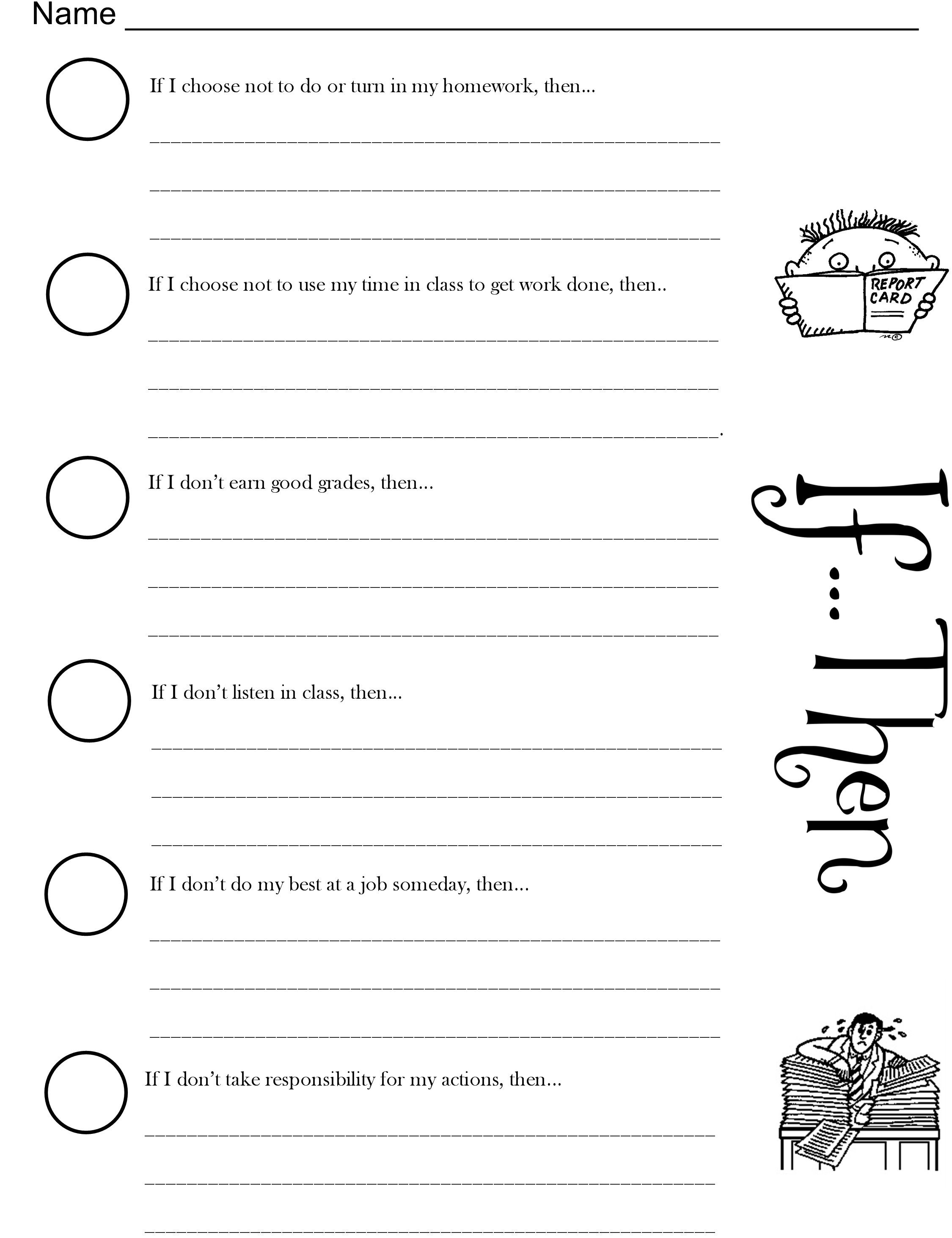 Behavior Consequences Worksheet For Kindergarten. Behavior ...