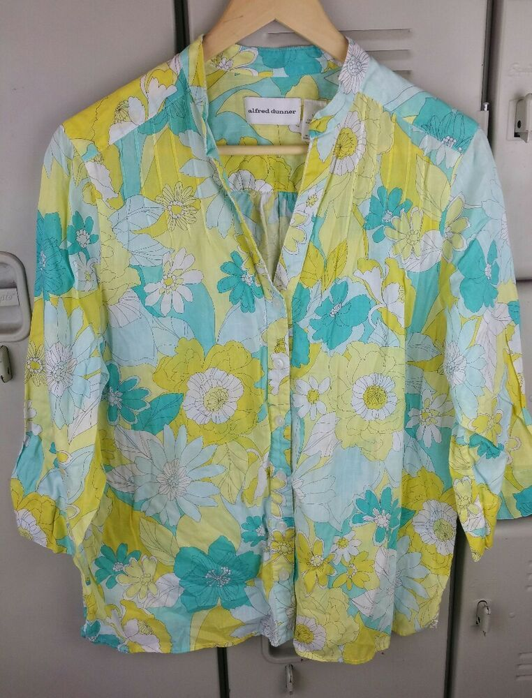 e32f1d29f8 Alfred Dunner Womens Plus 16 Cotton Floral Blouse Spring Color Box Y   AlfredDunner  Blouse