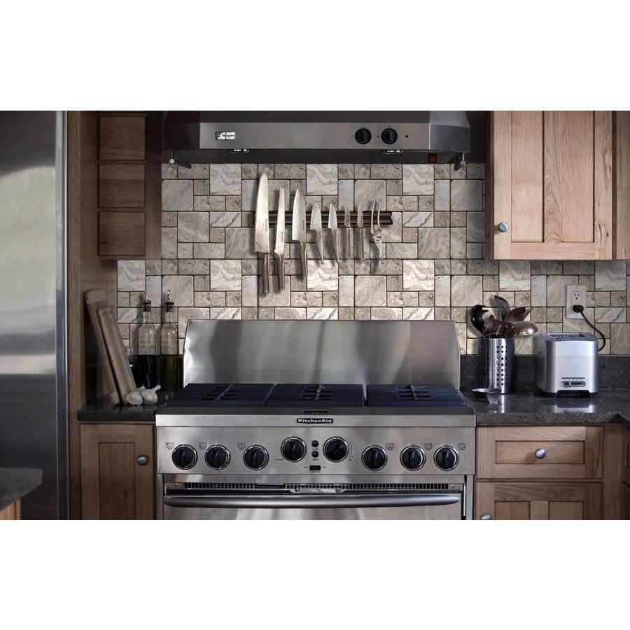 Shop Avenzo Silver Versailles Mosaic Travertine Floor And Wall Tile Common X Actual
