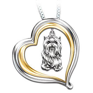 Loyal companion yorkie pendant necklace yorkies dog and yorkshire engraved heart shaped pendant with sculpted yorkie charm aloadofball Gallery