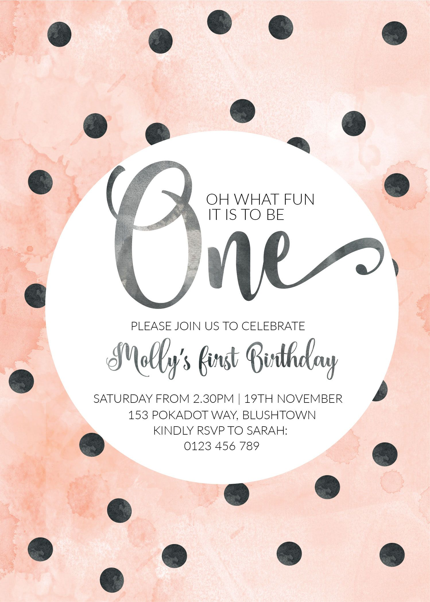 polkadot blush birthday invitation first birthday pink customized