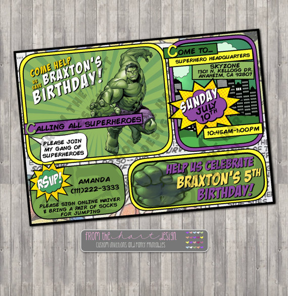 Incredible Hulk Birthday Party Invitation Avengers Comic Superhero Marvel Custom Green Personalize