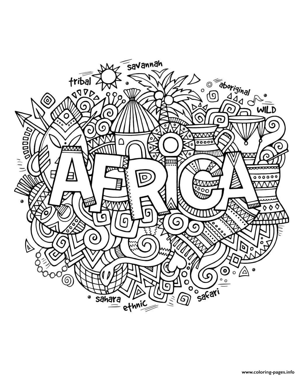 Print adult africa abstract symbols coloring pages
