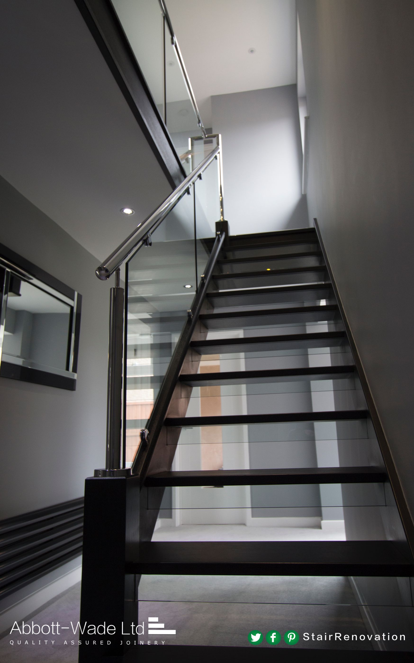 Best An Open Tread Black Oak Staircase With Steel Rail Glass 400 x 300