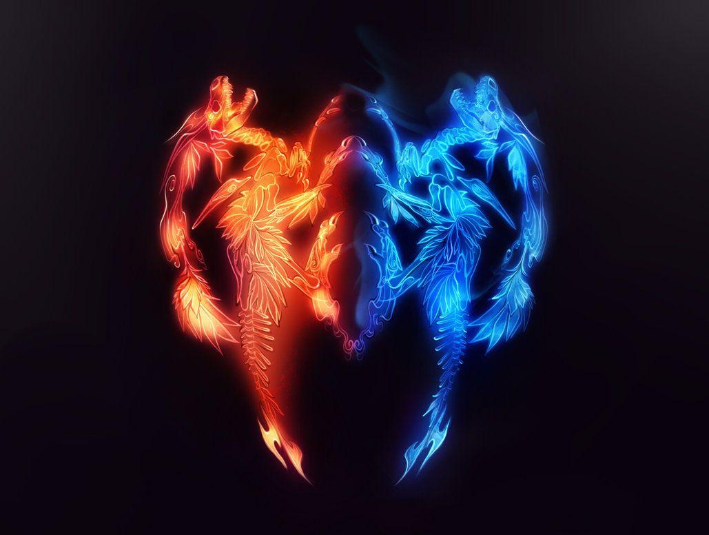 картинка ледяное сердце в огне волосков