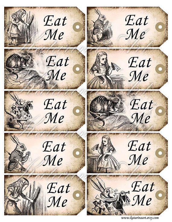 Eat Me Alice In Wonderland Gift Hang Tags By Katarinaart