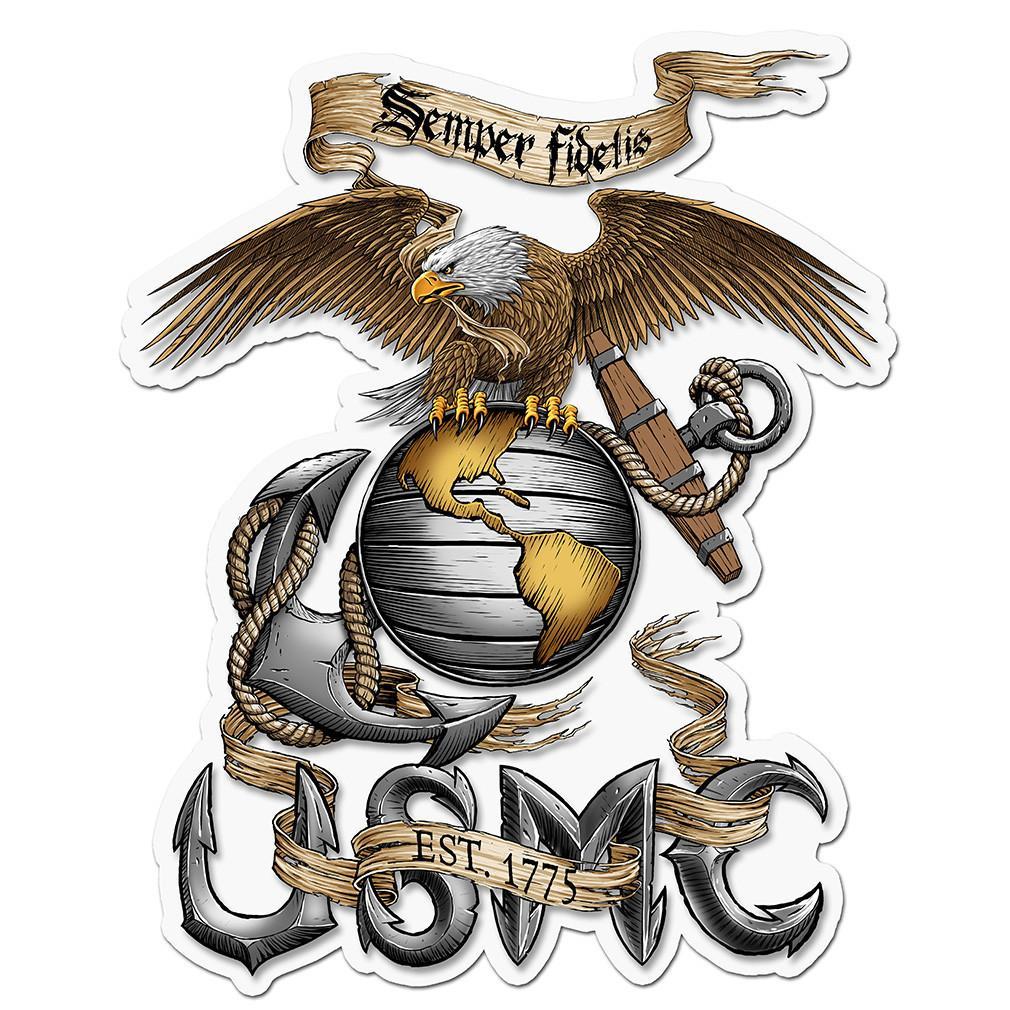USMC,Marine Corps Emblem,Globe Anchor Eagle,Semper Fi,Military,Vinyl Decal