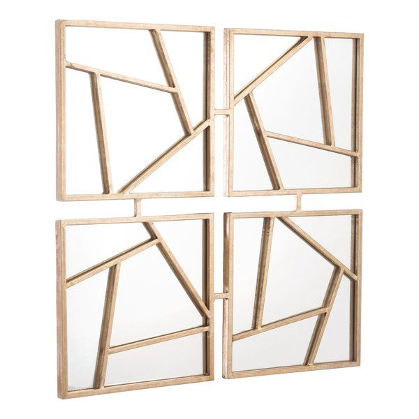 Gold Hexagonal Wall Mirror 11 8 From Peru Gold Accent: Whitsett Four Faces Modern & Contemporary Accent Mirror