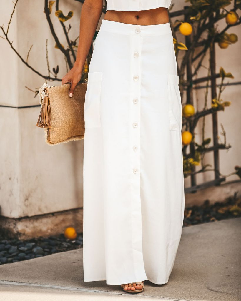 2ede7f5639aed Click to shop our website or follow us at @VICIDOLLS for all the latest  updates + fashion inspo! Merriment Button Down Pocketed Maxi Skirt - Off  White