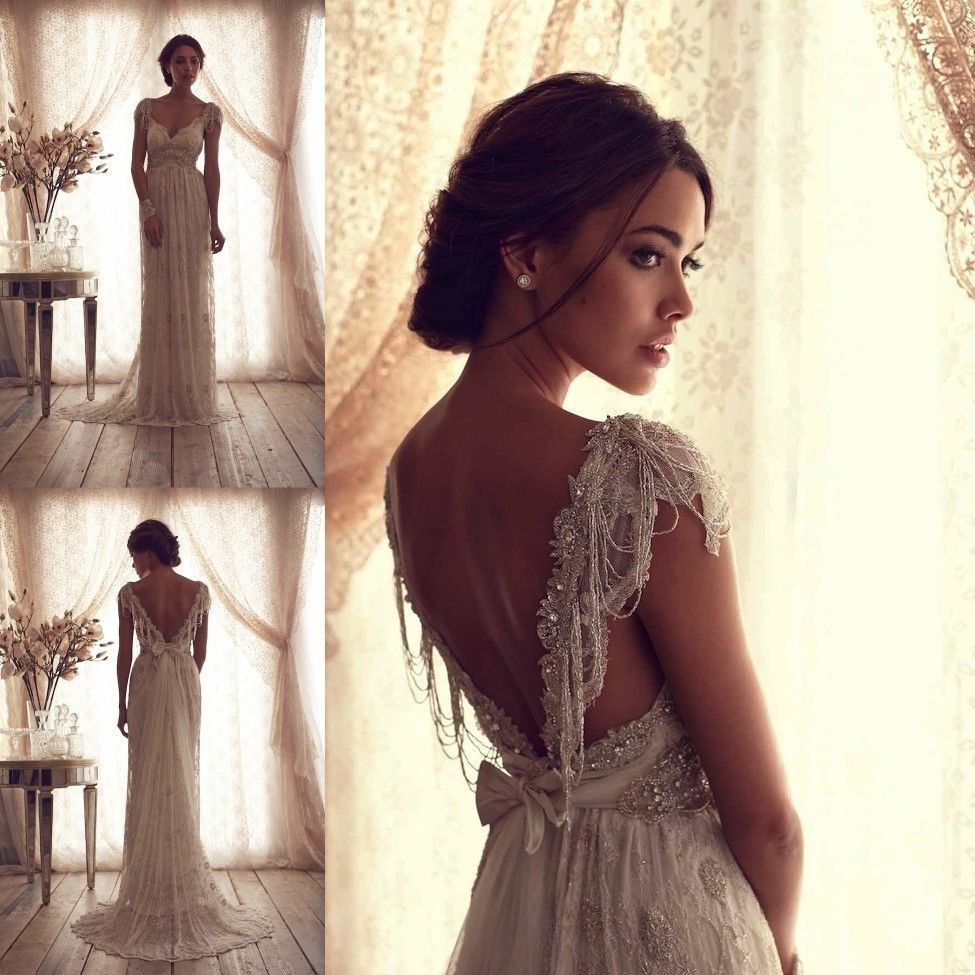 Best-Vintage-V-Neck-Sheer-Cap-Sleeve-Wedding-Dress-Beaded-Lace-Bridal-Gown  Anna Campbell Wedding Dresses 6ae51006e559