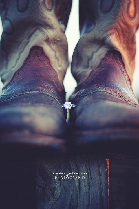 """His boots, her ring. ♥ Very cute proposal it would be - """"Honey, would you grab my boots for me?"""" """"are your legs broke?"""" """"please? I love you."""" """"okay."""" """"how about forever? would you do that?"""" """"yes! yes! yes!"""" ♥"""