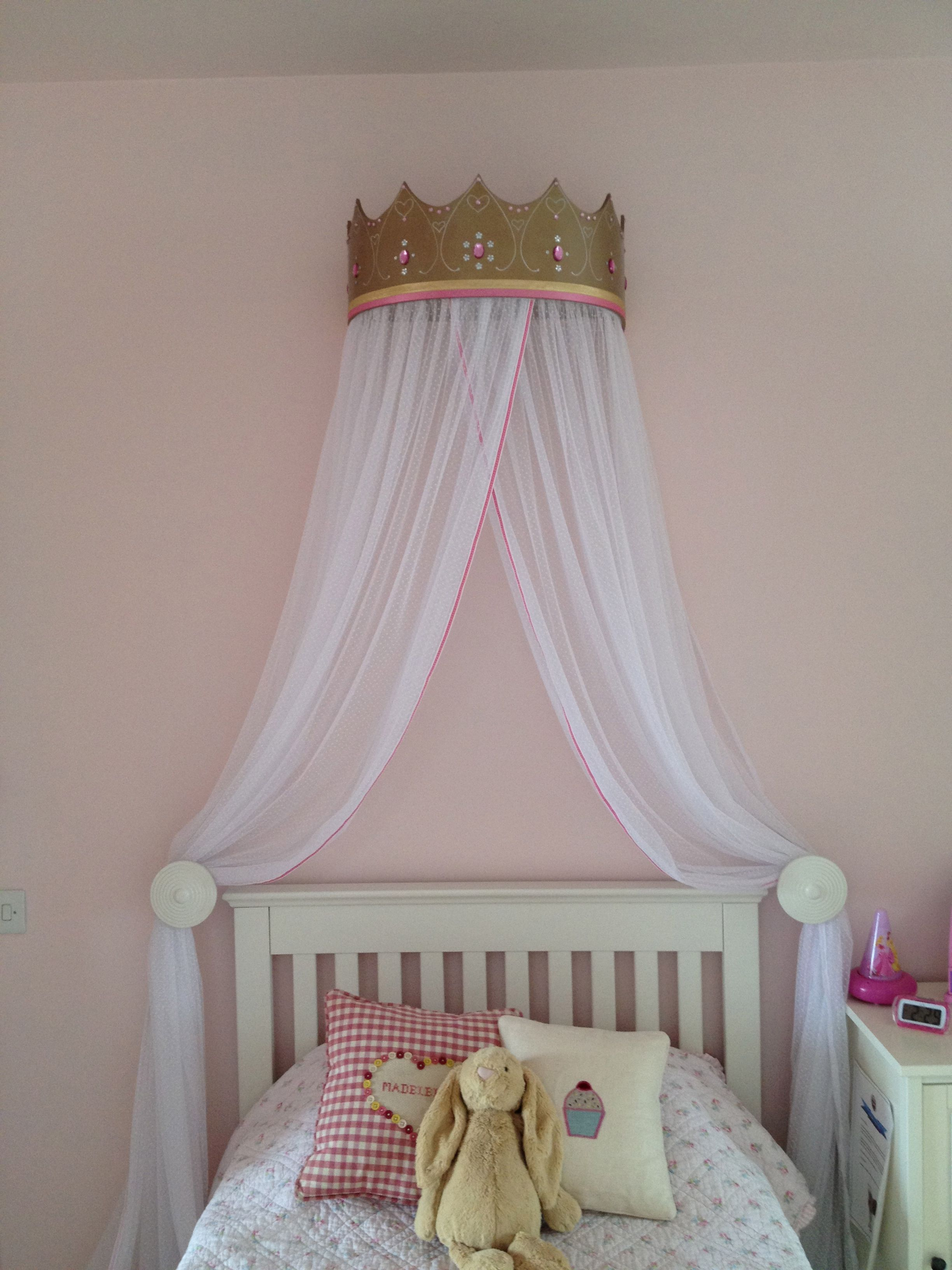 wall mounted bed canopy crown on the princess crown and bed canopy i made for maddie s bedroom bedroom design trends modern bedroom furniture sets bedroom door design the princess crown and bed canopy i