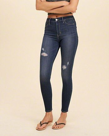 Girls Jeans Bottoms Hollister Clothes Ripped Jeggings Skinny Jeans