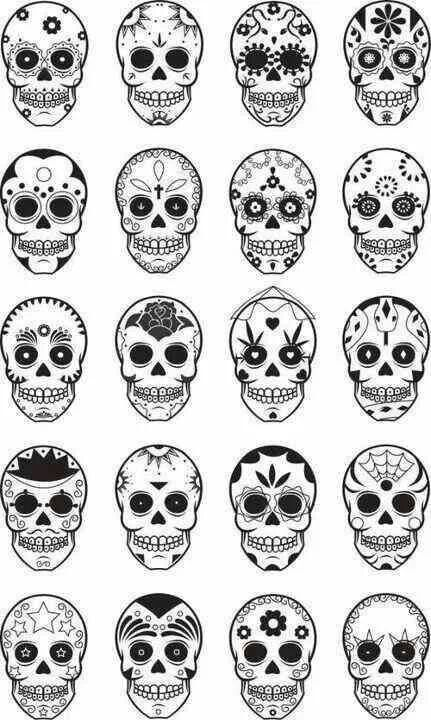 Sugar Skull Patterns - My fave is the stars at the bottom left ...