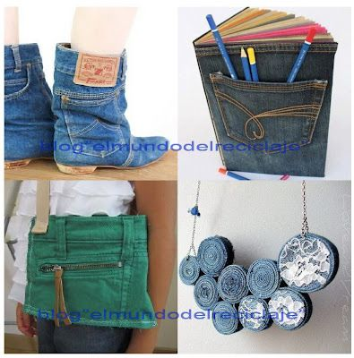 Things to do with jeans ropa reciclada pinterest - Reciclar ropa manualidades ...