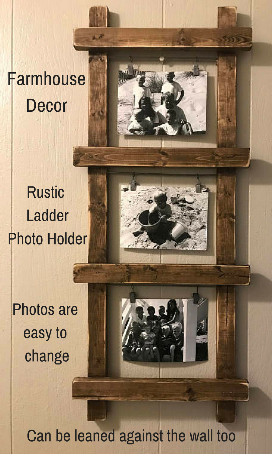 What a fantastic way to display photos in this rustic farmhouse