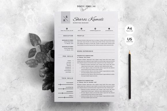 Resume Template 4 Pages Pack Resume cv, Template and Cv cover letter