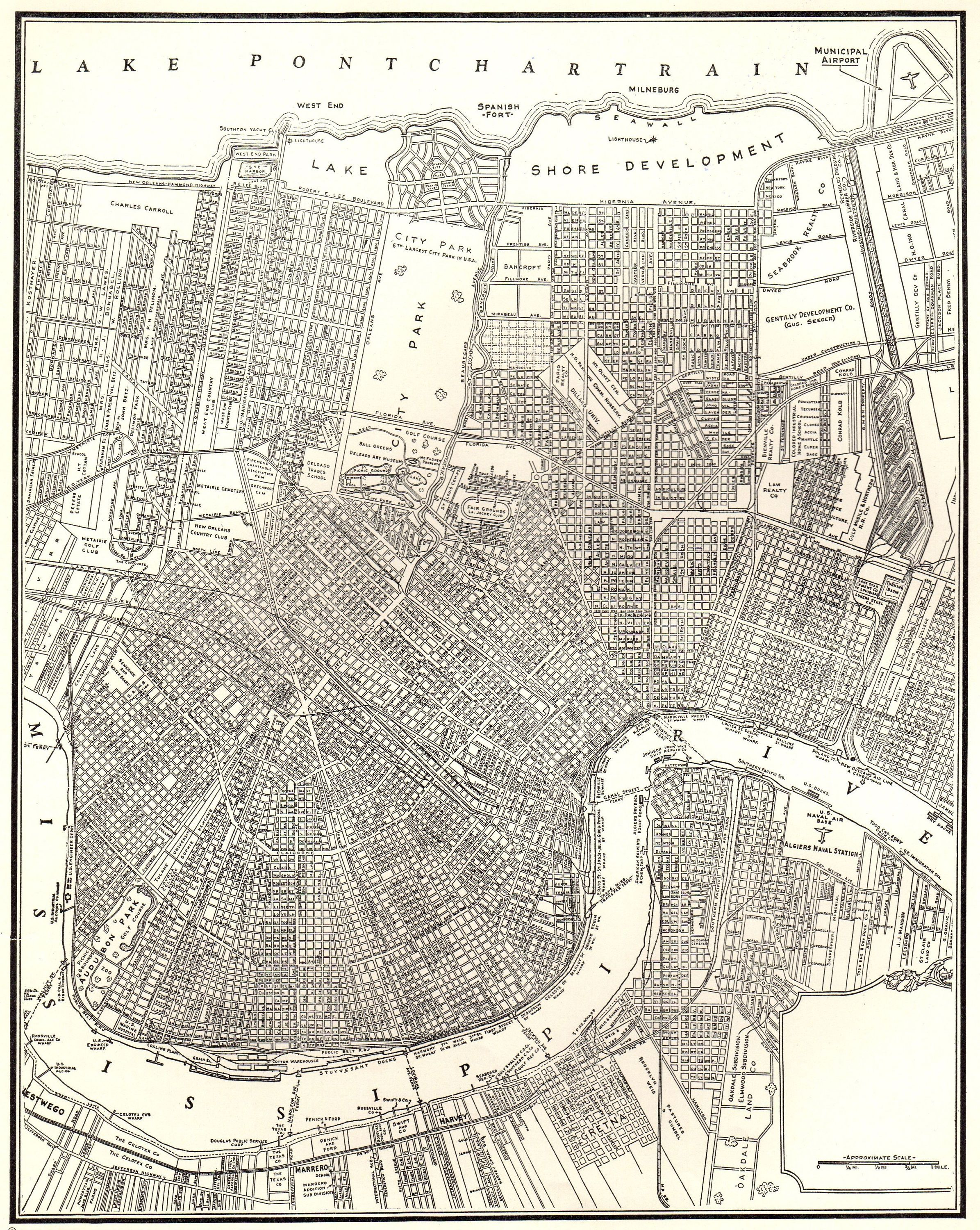 Antique New Orleans City Map 1942 Street Map Of New Orleans