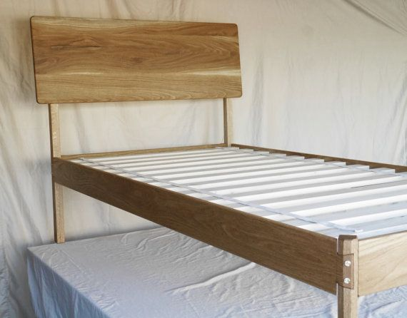 Modern White Oak Bed Frame; Handmade, Solid Wood Bed Frame with Hand ...