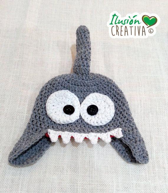 Gorrito crochet tiburón por IlusionCreativa en Etsy | crochet ...