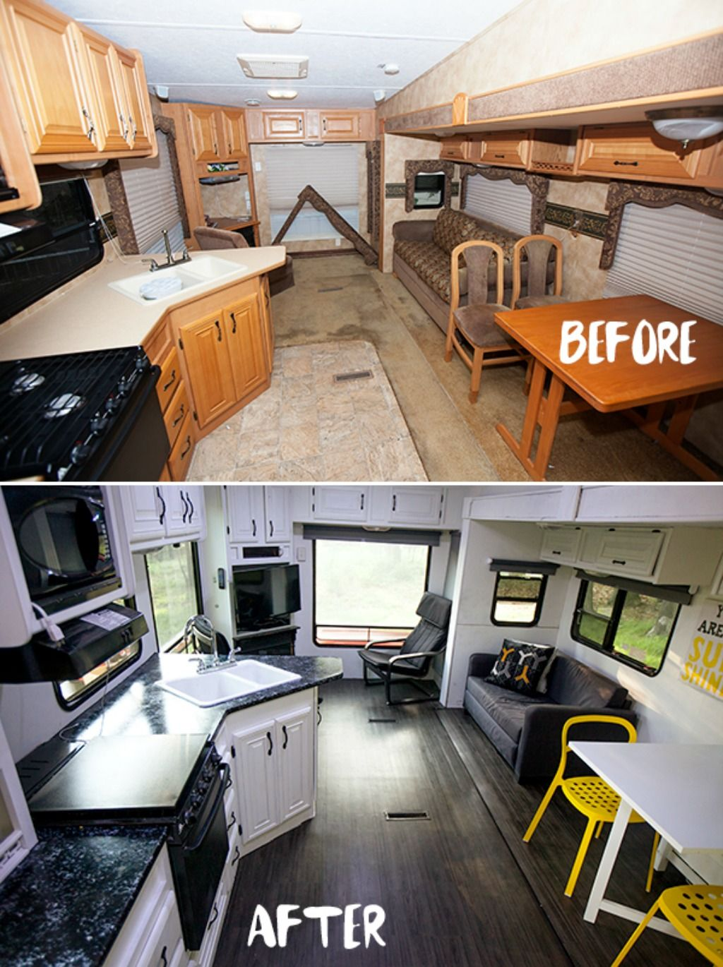 See tips and photos from five gorgeous fifth wheel remodels rv renovations include upgrades and modifications to cabinets walls furniture and flooring