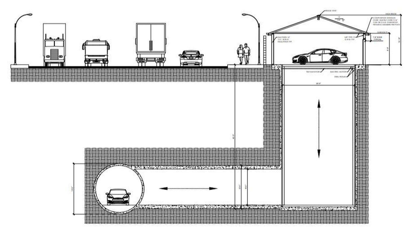 Plans Offer A Peek Into Elon Musk S Tunnel In Hawthorne Including An Elevator Hidden In A Garage Residential Garage Underground Garage Elon Musk Tunnel
